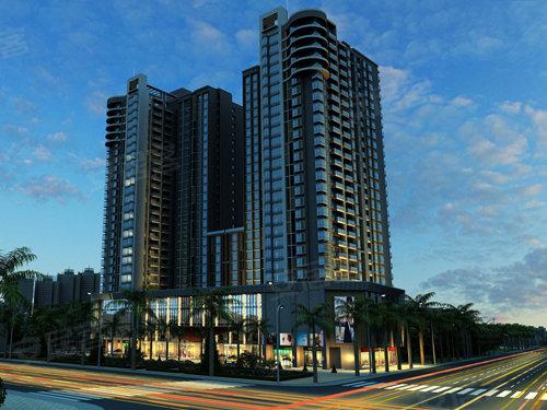 效果图 华伟第e商道由两栋27层建筑组成,第一至三层为商业配