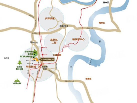 区位规划图华岩新城区背靠中梁山脉,境内中梁山现有森林植高清图片
