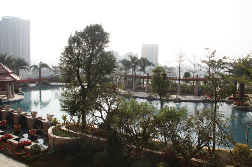 新品,独具现代东南亚风情的空中园林,超大的空中泳池、喷水雕塑、